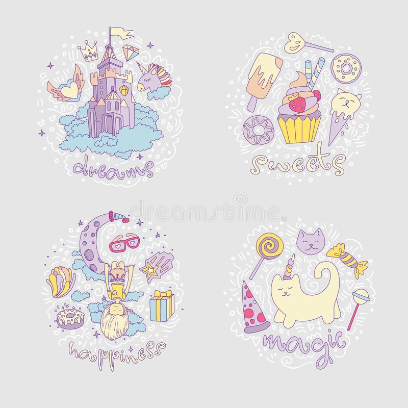 Colored Set of teenage girl icons, cute cartoon teen objects, fun stickers design vector such as magic castle, cupcake royalty free illustration