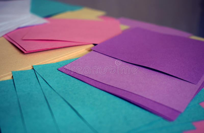 Colored sheets of paper stock photo. Image of multicolored - 97300056