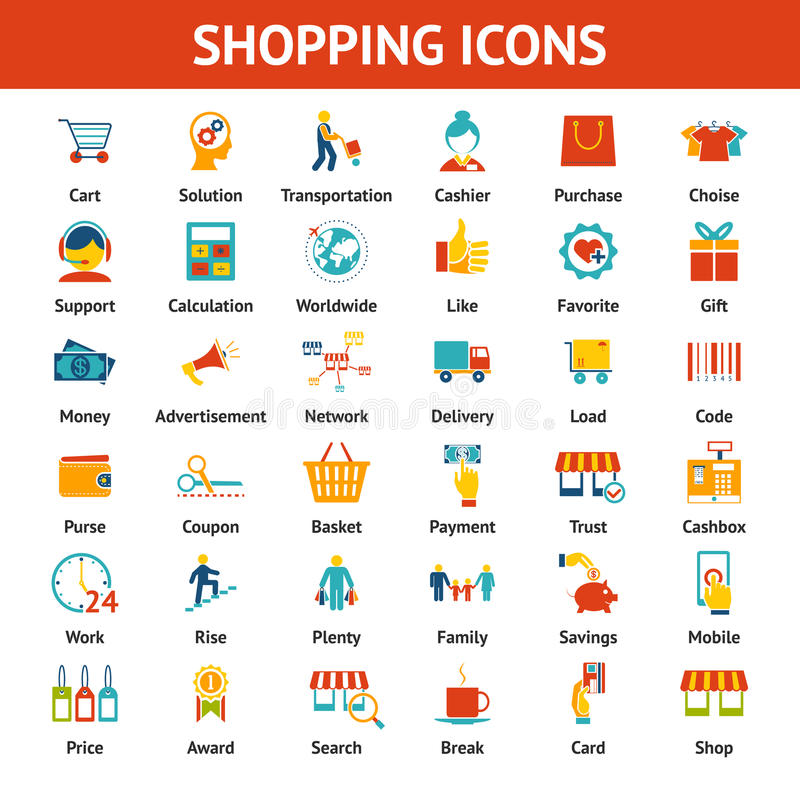 Colored Shopping Icons. Marketing and distribution, choices and transportation royalty free illustration