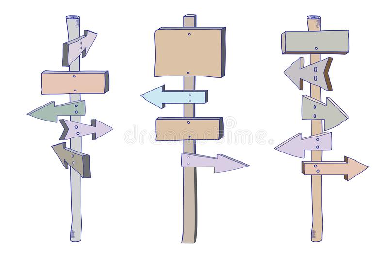 Colored_signpost_doodle_set libre illustration
