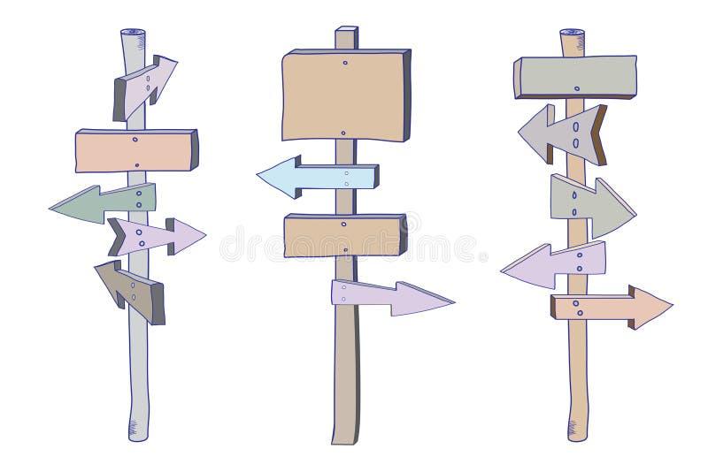 Colored_signpost_doodle_set illustration libre de droits
