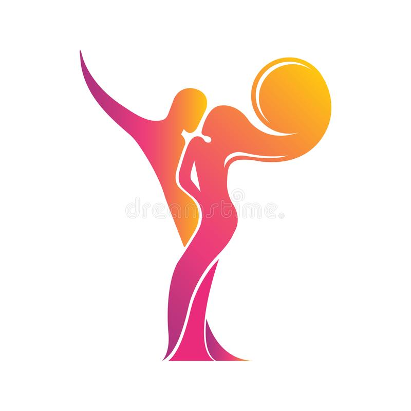 Colored silhouette of a dancing couple in the . Logo for dance Studio in bright color, orange, pink, yellow, red. Latino,. Ballroom dancing. Label, sign royalty free illustration