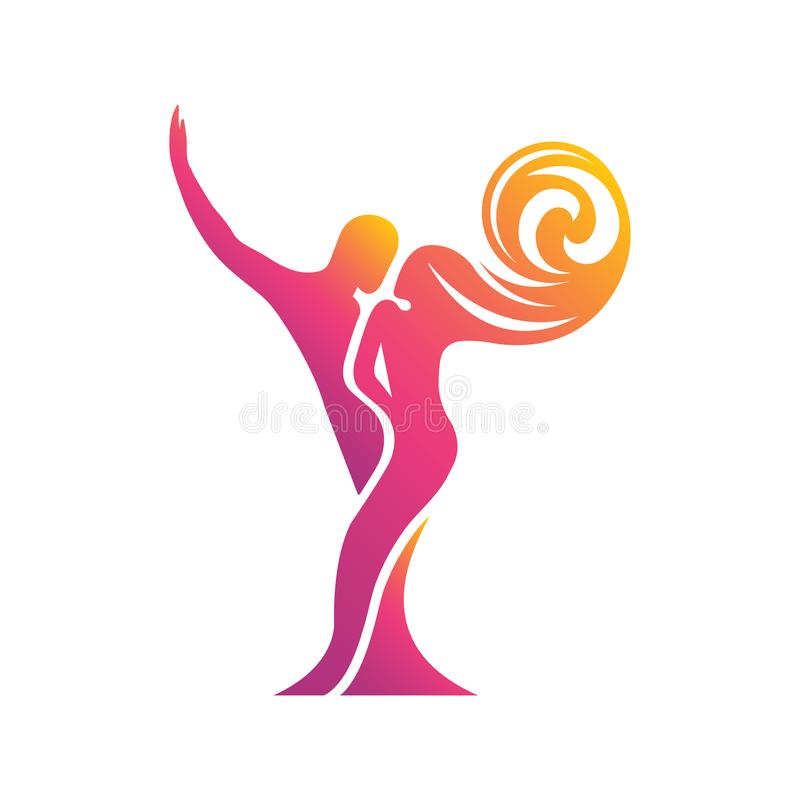 Colored silhouette of a dancing couple in the . Logo for dance Studio in bright color, orange, pink, yellow, red. Latino,. Ballroom dancing. Label, sign vector illustration