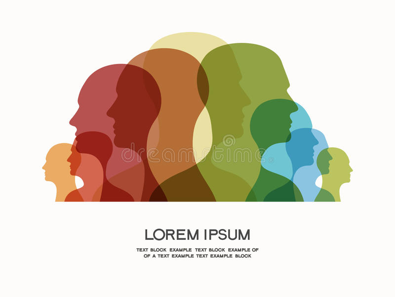 Colored silhouettes of human heads vector illustration