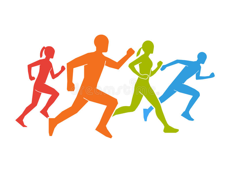 Colored silhouettes of runners. Flat figures marathoner. royalty free illustration