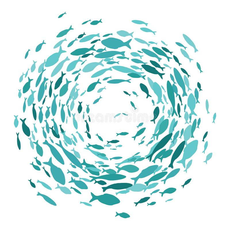 Free Colored Silhouettes School Of Fish. A Group Of Silhouette Fish Swim In A Circle. Marine Life. Vector Illustration. Logo Stock Photo - 158245630