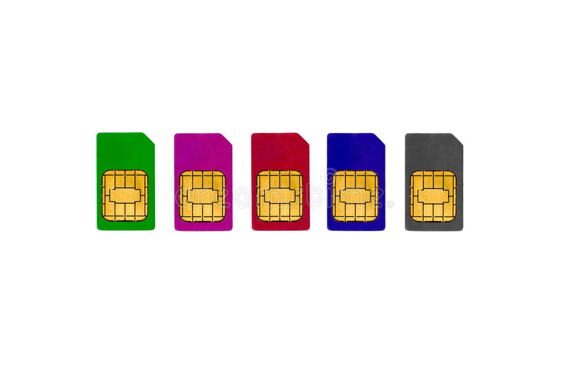 Colored sims. Isolated on the white royalty free stock photo