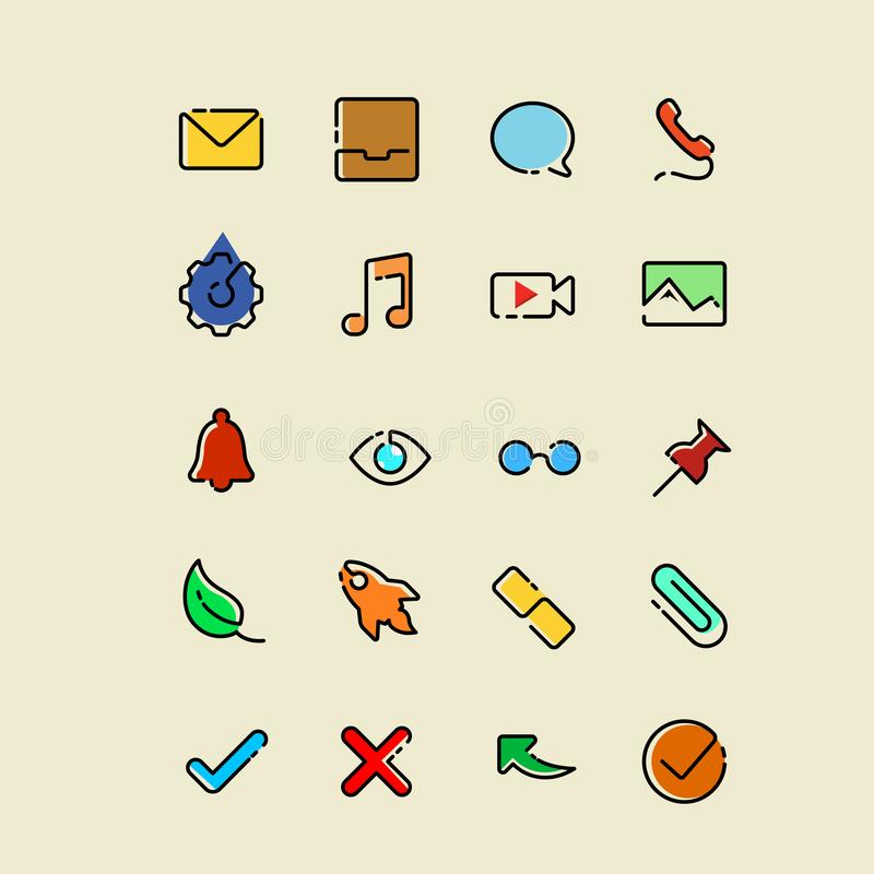 Colored Single line icons stock illustration