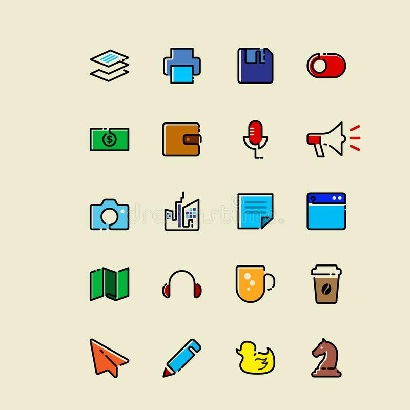 Colored Single line icons vector illustration