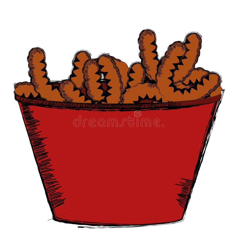 Colored sketch of a bowl of snacks. Vector illustration vector illustration