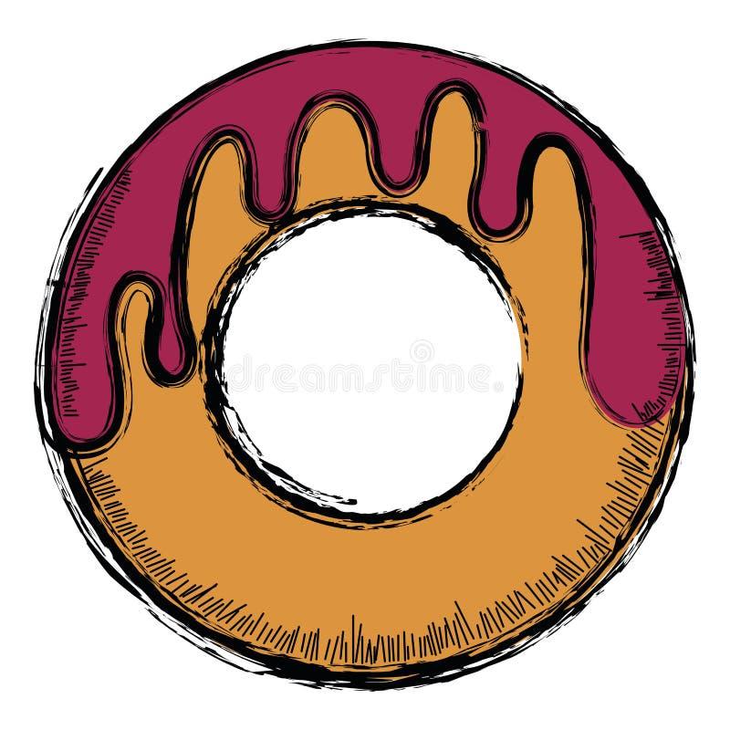 Colored sketch of a donut. Vector illustration stock illustration
