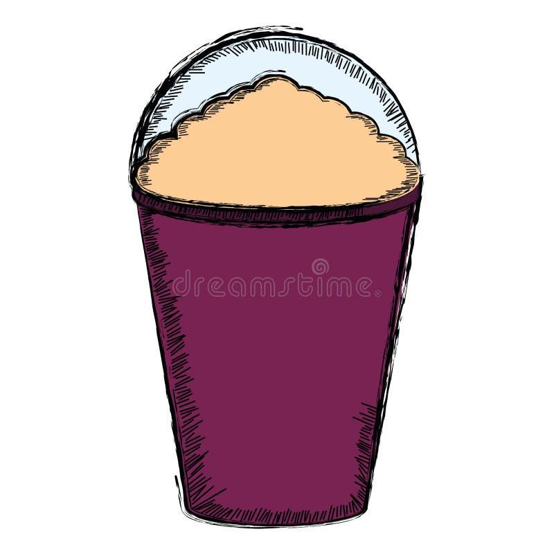 Colored sketch of a frappe. Vector illustration vector illustration