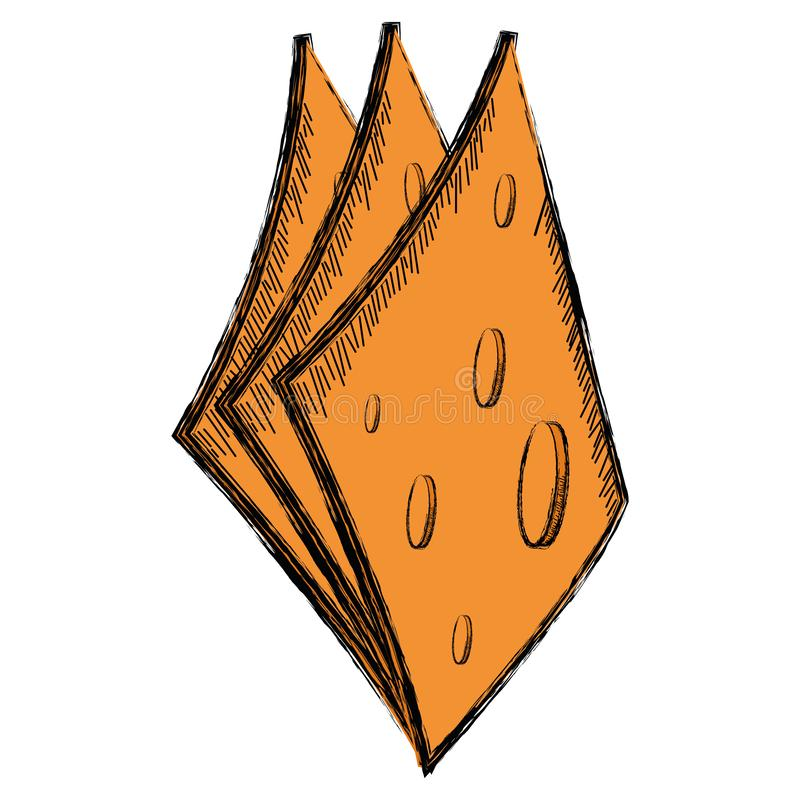 Colored sketch of a slices of cheese. Vector illustration royalty free illustration
