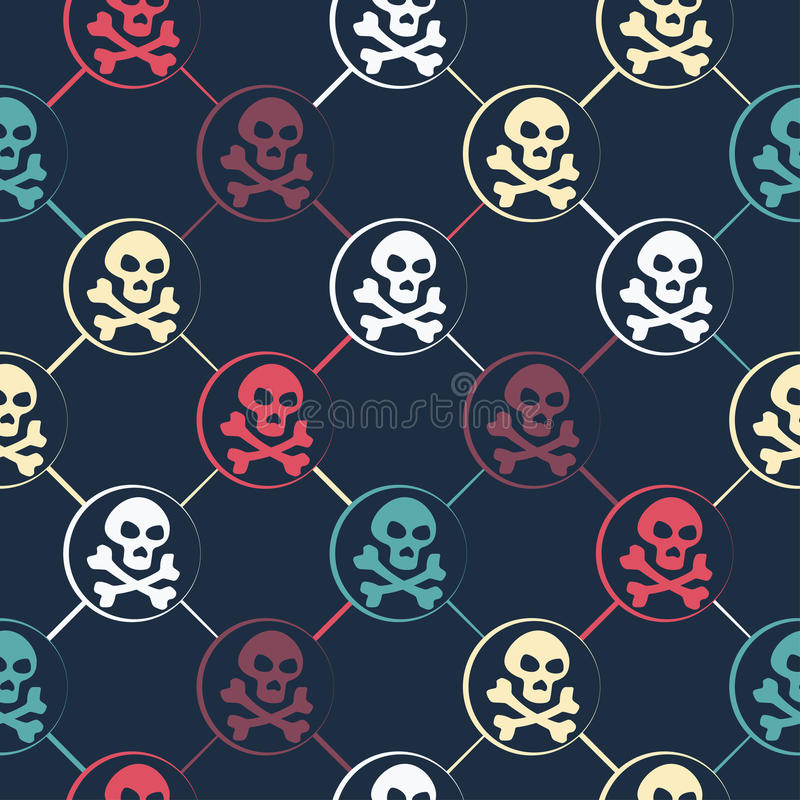 Colored Skull Pattern royalty free illustration