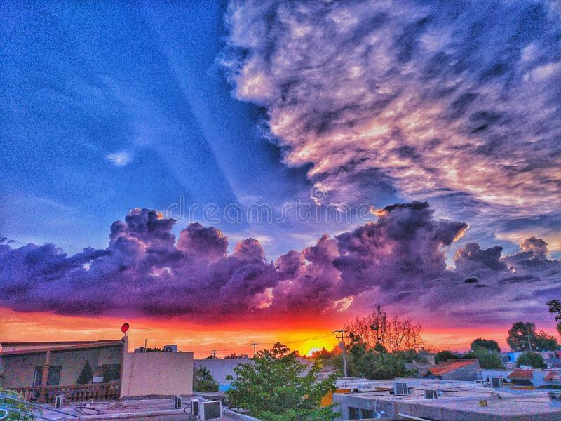Colored sky stock photography