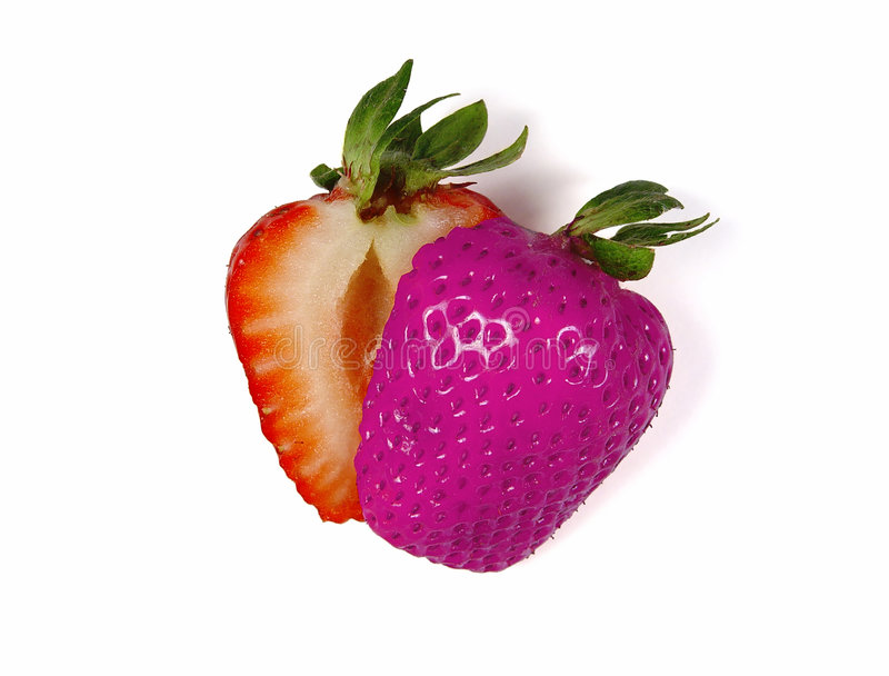 Colored Sliced Strawberry royalty free stock photography