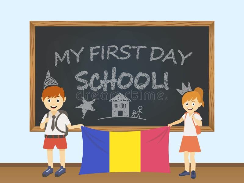 Colored smiling children, boy and girl, holding a national Andorra flag behind a school board illustration. Vector cartoon illustr royalty free illustration