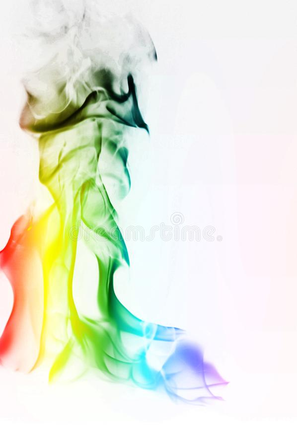 Multi Color Fire Flame Abstract on white background. A mystic colorful smoke. Blurry bright abstraction with colored lines. Magic. Fire - texture Image stock images