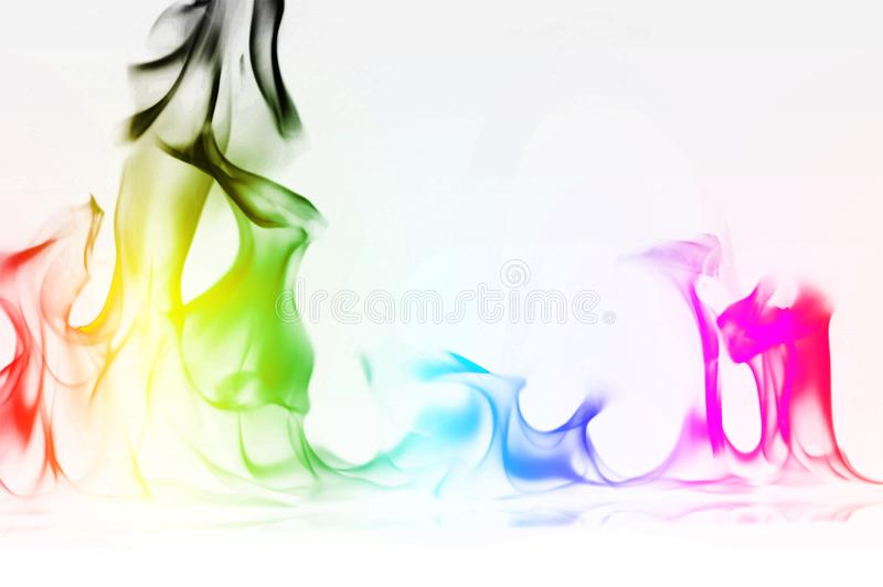 Multi Color Fire Flame Abstract on white background. A mystic colorful smoke. Blurry bright abstraction with colored lines. Magic. Fire - texture Image royalty free stock photos