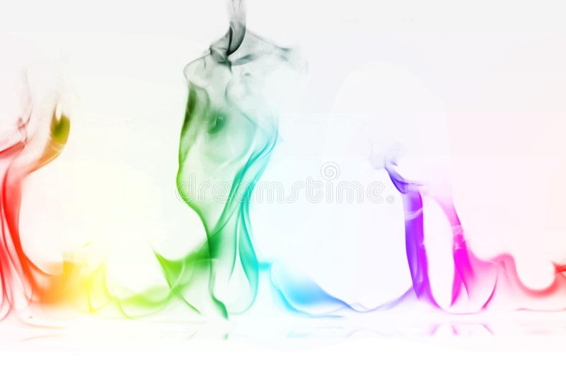 Multi Color Fire Flame Abstract on white background. A mystic colorful smoke. Blurry bright abstraction with colored lines. Magic. Fire - texture Image royalty free stock images