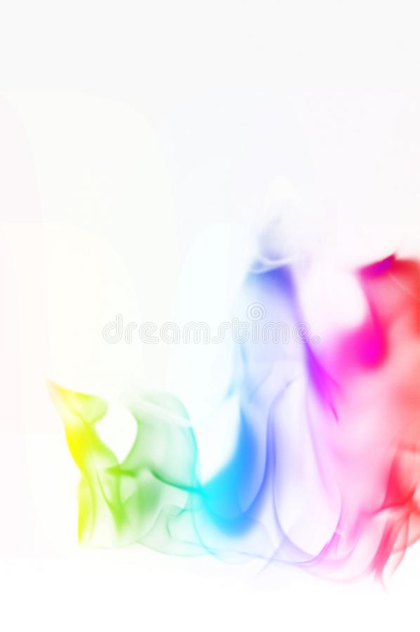 Multi Color Fire Flame Abstract on white background. A mystic colorful smoke. Blurry bright abstraction with colored lines. Magic. Fire - texture Image stock photography