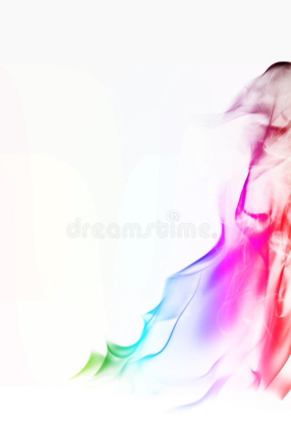 Multi Color Fire Flame Abstract on white background. A mystic colorful smoke. Blurry bright abstraction with colored lines. Magic. Fire - texture Image royalty free stock photography