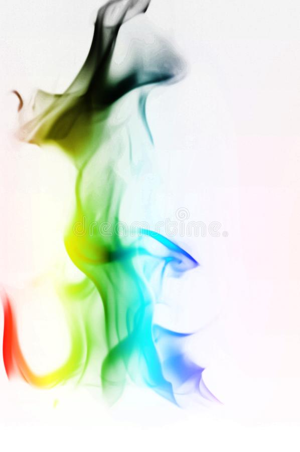 Multi Color Fire Flame Abstract on white background. A mystic colorful smoke. Blurry bright abstraction with colored lines. Magic. Fire - texture Image stock image