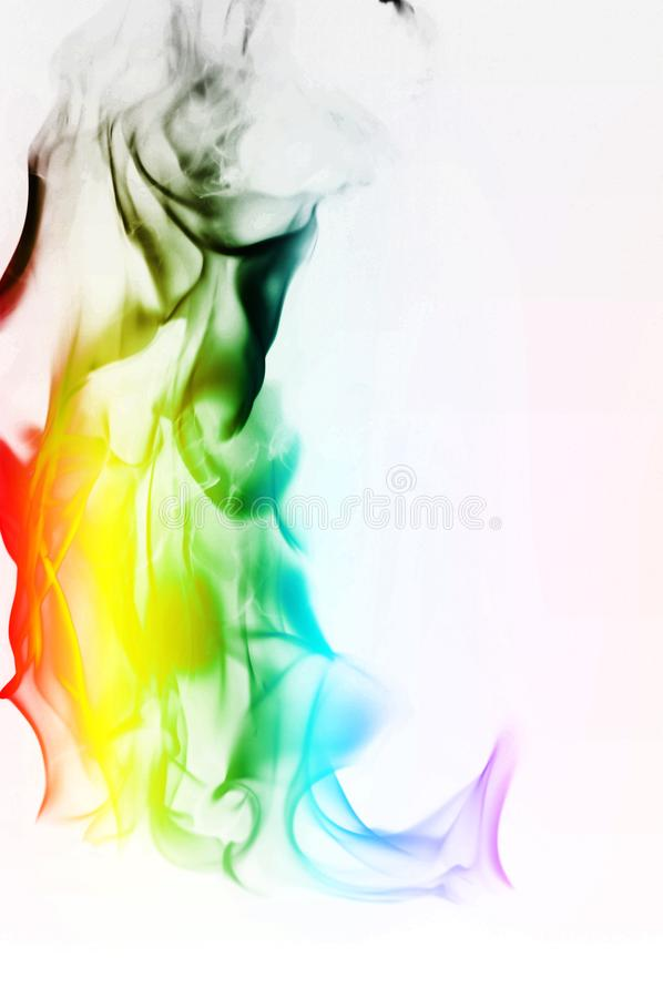 Multi Color Fire Flame Abstract on white background. A mystic colorful smoke. Blurry bright abstraction with colored lines. Magic. Fire - texture Image stock photo