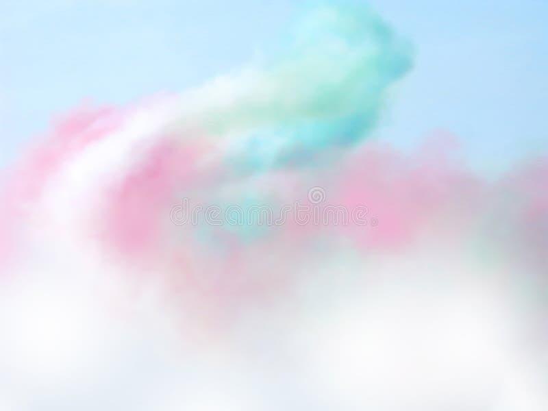 Colored smoke on a light cyan background stock photography