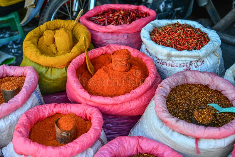 Colored spices at local market stock photo