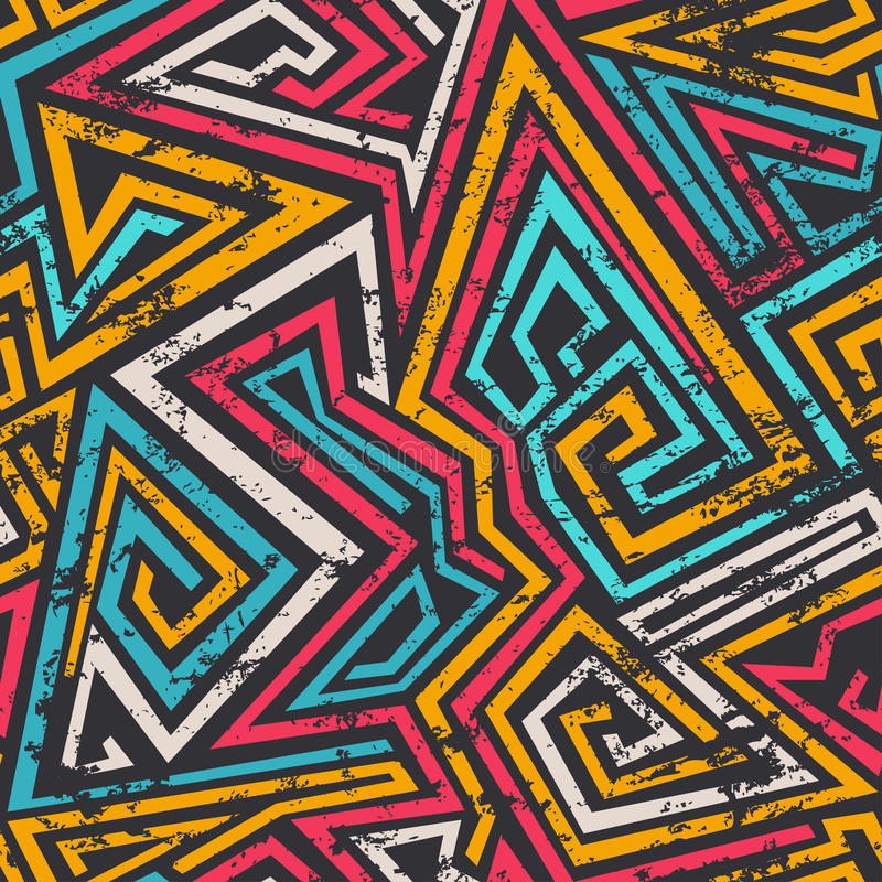 Colored spiral lines seamless pattern with grunge effect royalty free illustration