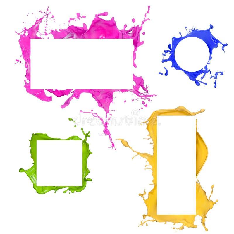 Colored splashes frames royalty free illustration