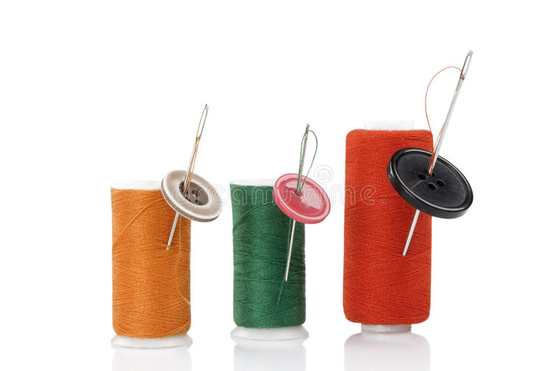 Download Colored Spool, Needles And Buttons Stock Image - Image: 20200465