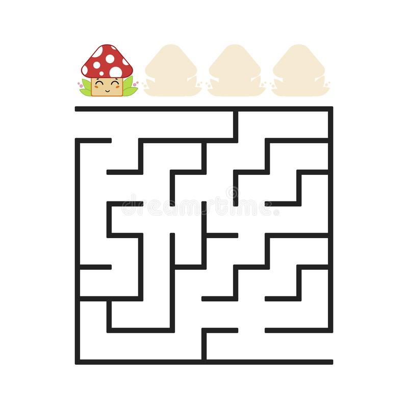A colored square labyrinth with an entrance and an exit. Difficulty level. Lovely toon. Simple flat vector illustration isolated o. N white background royalty free illustration