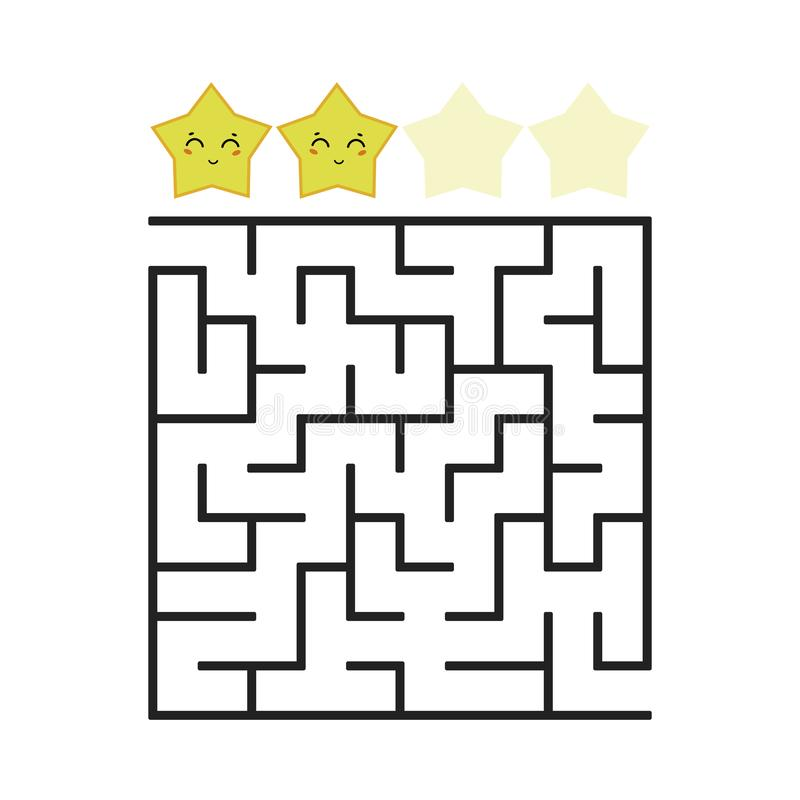 A colored square labyrinth with an entrance and an exit. Difficulty level. Lovely toon. Simple flat vector illustration isolated o. N white background stock illustration
