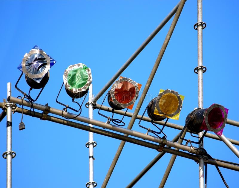 Colored Stage Lights at an Outdoor Concert royalty free stock images
