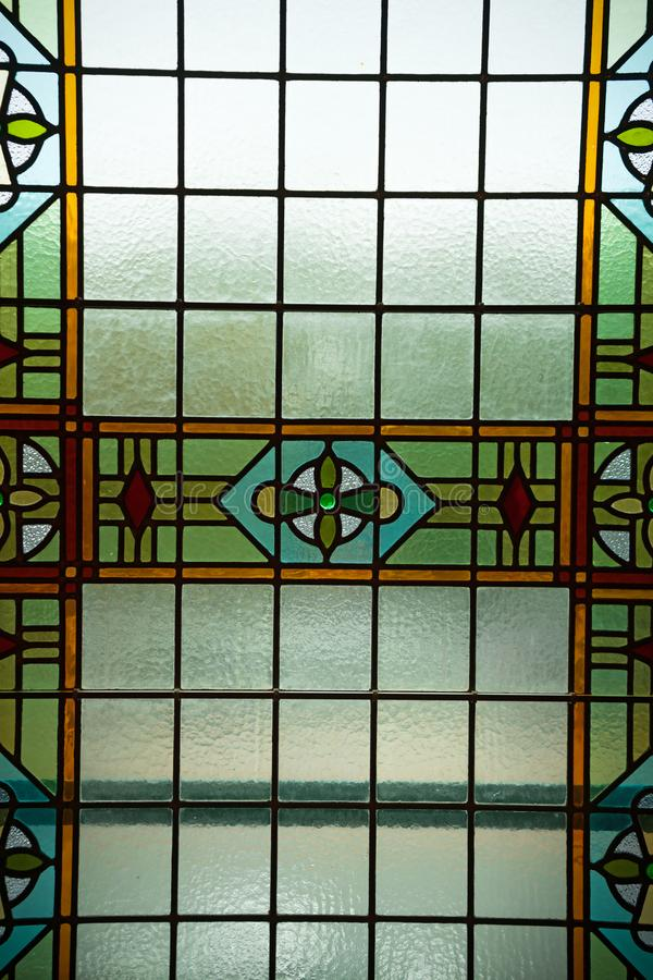 Colored stained glass window, Amsterdam, The Netherlands, October 13, 2017 royalty free stock photos