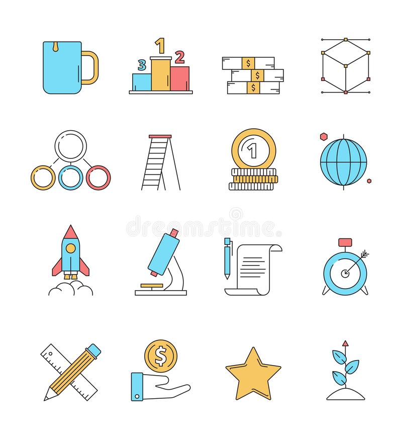 Colored startup icons. Business plan perfect innovation idea dreams entrepreneurship investors vector linear icon stock illustration