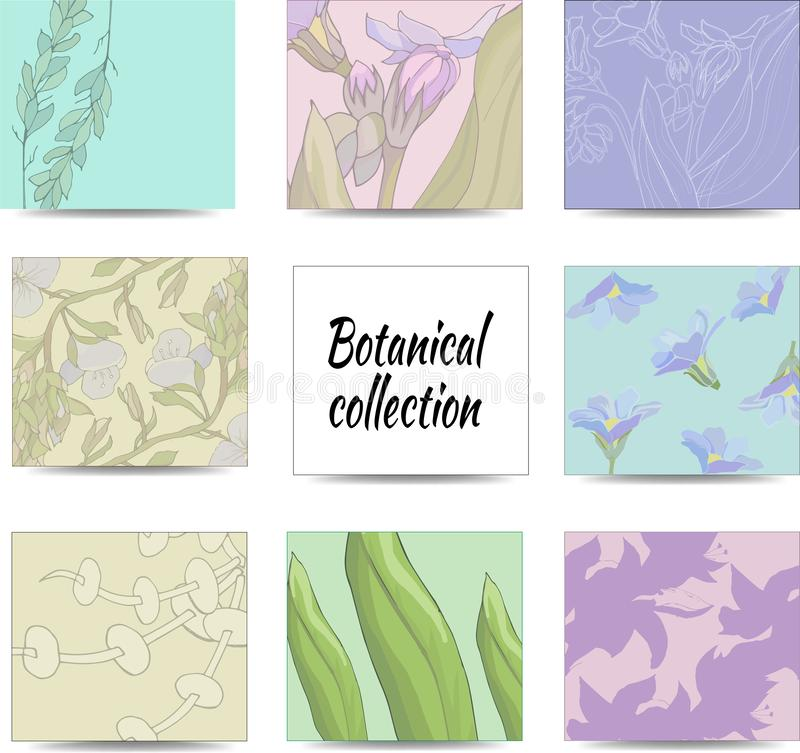Colored stickers for notes with a floral ornament. Notes and stickers isolated on white background stock illustration