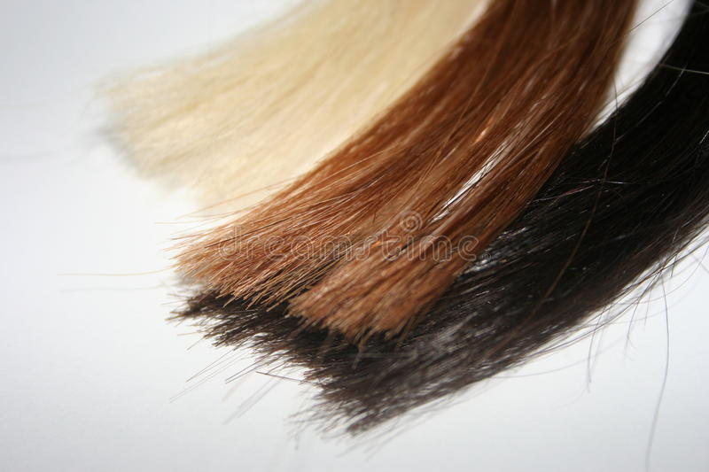 Colored strands of hair royalty free stock images
