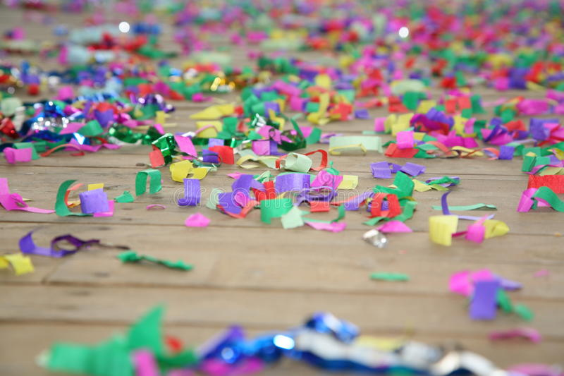 Download Colored Streamers Confetti Scattered On The Wooden Plank Floor. Happy Party Background. Stock Image - Image of boxes, colors: 74727633