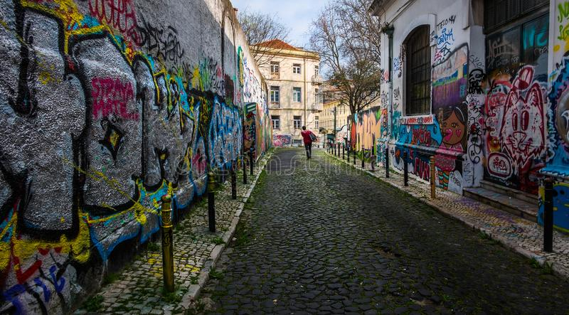 Colored streets of old Lisbon. Portugal. royalty free stock photography