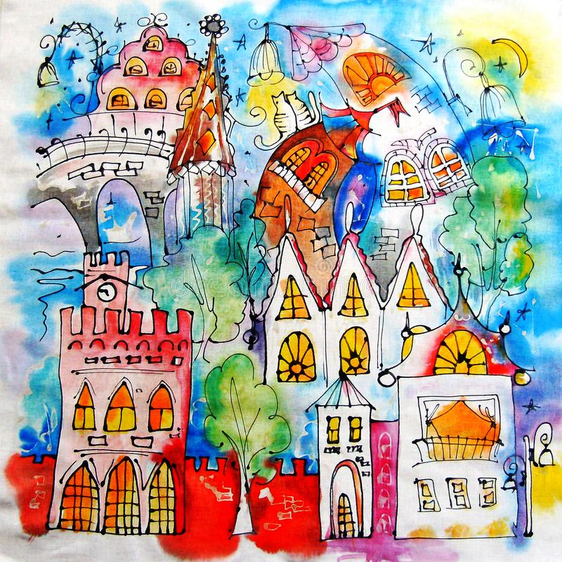 Colored stylized city painted by hands. Illustration. Fairytale town. Blue night, glowing windows, mysterious towers stock illustration