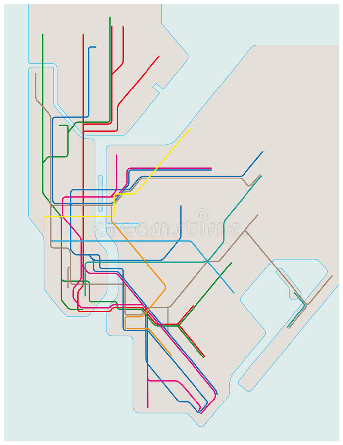 Free Colored Subway Map Of New York City Stock Photography - 85607662