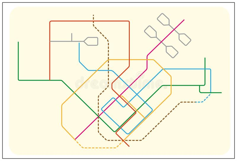 Colored subway vector map of Singapore, asia stock illustration