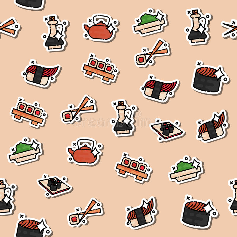 Colored Sushi concept icons pattern. Seafood sign. Vector illustration, EPS 10 royalty free illustration