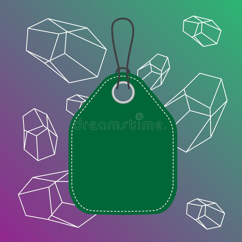 Colored tag vertically positioned rectangle label. Empty badge bound by string with side seams on colorful background. Empty tag blank space colorful background vector illustration