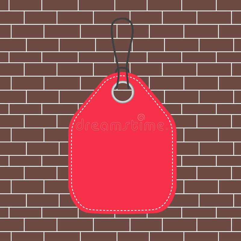 Colored tag vertically positioned rectangle label. Empty badge bound by string with side seams on colorful background. Empty tag blank space colorful background royalty free illustration