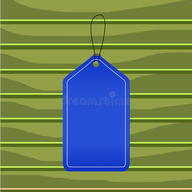 Colored tag vertically positioned rectangle label. Empty badge bound by string with side seams on colorful background. Empty tag blank space colorful background stock illustration