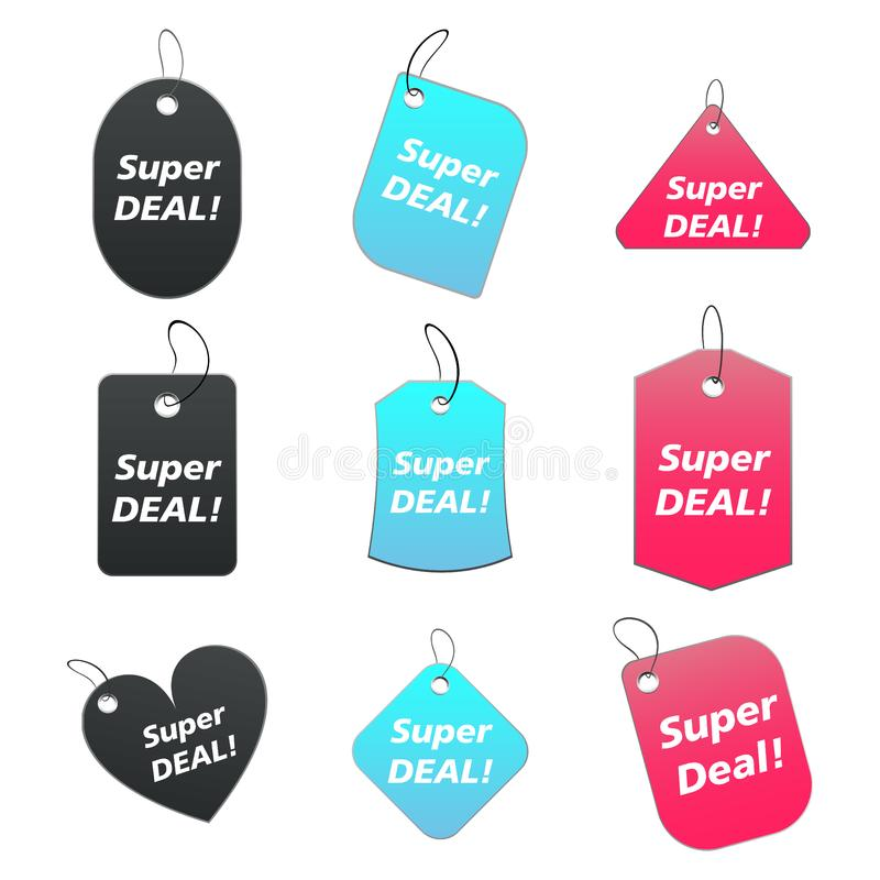 Download Colored tags - super deal stock illustration. Illustration of blank - 6529035